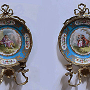 Pair Sevres Porcelain Figural Plates In Ormolu Sconce Frames