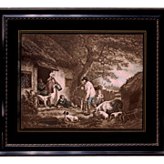 Pastoral Lithograph In Eglomise & Black Lacquer Frame