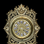 "French Cast Brass Wall Clock - 17"" L x 12.75"" W"