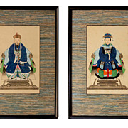 Pair Chinese Watercolors Of Empress & Emperor