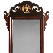 American Federal Mahogany Mirror With Gilded Eagle