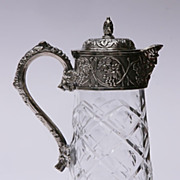 SALE Silverplate And Cut Glass Pitcher