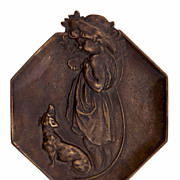 SALE Bronze Placque Of Young Girl And Dog
