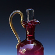 Cranberry Glass Ewer With Gilt Fleur-de-Lis