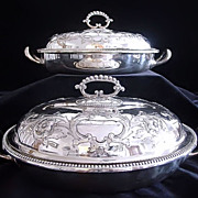 Pair Sheffield Silverplate Covered Vegetable Dishes
