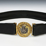 SALE Gilt Bronze And Silver Portuguese Heraldic Buckle