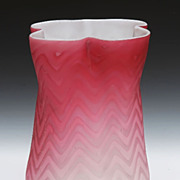 Mother-Of-Pearl Herringbone Satin Glass Vase