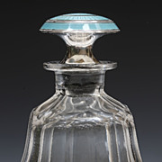 Cut Glass Perfume Bottle With Turquoise Enamel Stopper