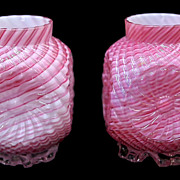Pair Cased Satin Glass Vases