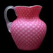 Diamond Quilt Satin Glass Pitcher