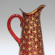 Bohemian Ruby Red And Gold Enamel Pitcher