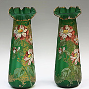 Pair French Mont Joye Art Nouveau Satin Vases