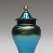 Blue Iridescent Signed Durand Covered Vase