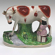 Staffordshire Cow And Milkmaid Figure