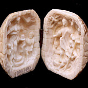 SALE Carved Ivory Diptych With Seated & Standing Figures