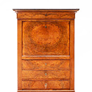 French Circassian Walnut Secretaire Abattant