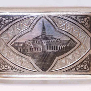 Russian Nielo Sterling Cigarette Box - by Faberge Chief Enameler