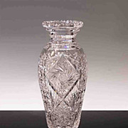 American Brilliant Period Tall Cut Glass Vase