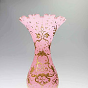 Large Pink Opaline Vase With Elaborate Gilt  Enameling - 14 3/8&quot; H.