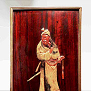 SALE Finely Carved Chinese Soapstone Figure On Mahogany Panel