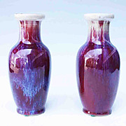 Pair Chinese Porcelain Flambe Vases