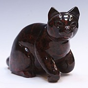 SALE Chinese Porphyry Hardstone Figure Of Cat