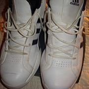 SALE Like New Vintage Adidas White and Blue Leather Adidas Basketball Shoes from the 1990's!