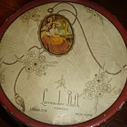 SALE Great Little Powder Tin Lavender Bath Langlois New York Tindeco