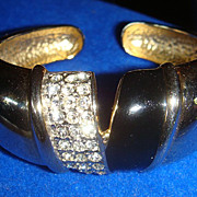 Glitzy Double Hinged Clamper Bracelets Black Enamel & Triple Rows of Rhinestones!