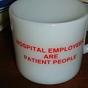 Anchor Hocking Red & White Hospital Employee Mug Play on Words