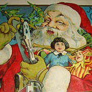 "SALE Wonderful Old ""Up Close"" Santa Claus Postcard Early 1900's Doll, Joker, Skates,"