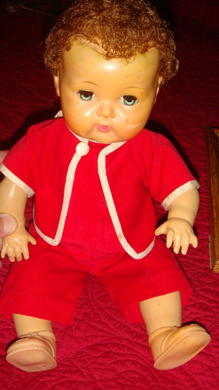 Adorable American Character 1950's Tiny Tears Doll in Red Corduroy Romper & Jacket Still Cries!