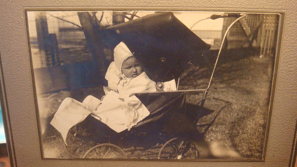 Darling Old Black & White Photograph Baby in Very Early Vintage Baby Carriage/Buggy