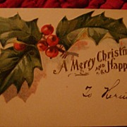 SALE Uniquely Beautiful Early 1900's Embossed Gift Card or Greeting Card Holly Leaves & Berrie