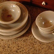 SALE 12 Piece Set/Two Place Settings Gray Laurel Fire King With Original Labels!