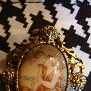 Vintage Antiqued Goldtone Frame Porcelain Portrait Brooch Pendant