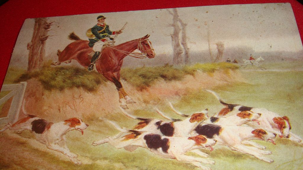 "Beautiful Unsigned ""Hunt"" Scene Postcard from 1909"