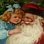 SALE Beautiful Early 1900s Santa Claus Hugging Little Girl in Blue Postcard!