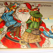SALE Early 1900's Christmas Postcard Santa Hugs the Children As they Grab His Toys!