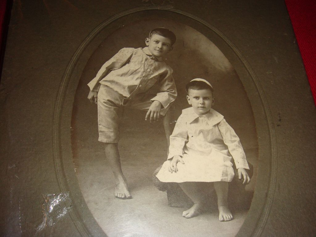 Two Darling Barefoot Boys Perhaps Brothers Wearing White Kippah(Skullcap) Cabinet Card
