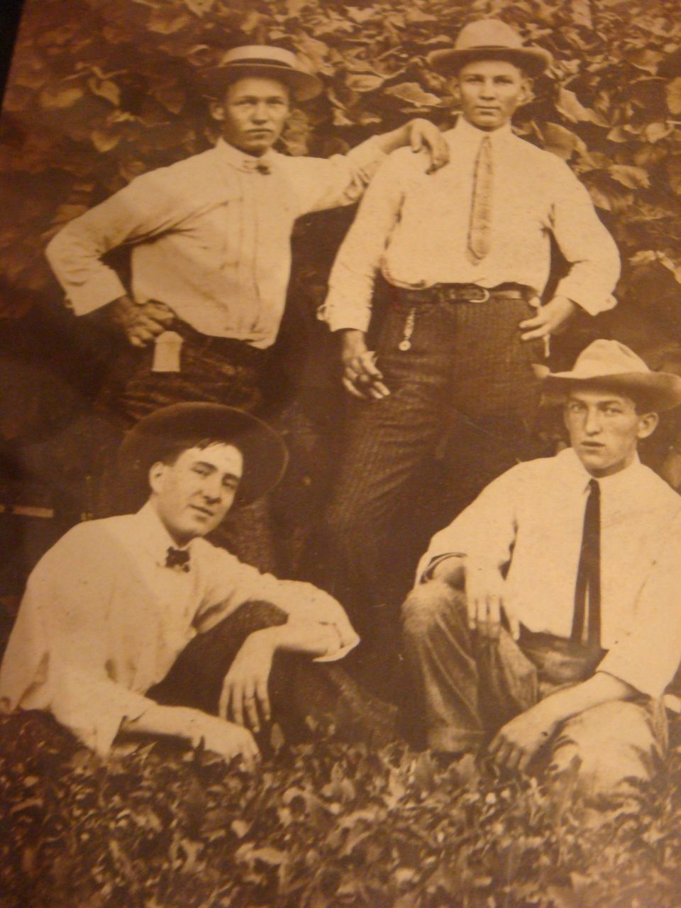 4 Cool Dudes Look at Those Hats and SKINNY Ties! Early 1900's Photo
