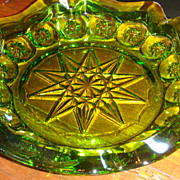 Large Avocado or Spearmint Green Starflower or Moon & Stars Vintage Glass Ashtray Tobacciana C
