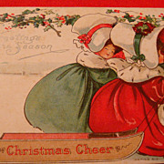 "SALE B.E.B. ""Christmas Cheer"" Early Postcard Two Ladies in Huge Bonnets, Velvet Dres"