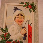 SALE 1913 Embossed Christmas Postcard Little Child With Red Racer Metal Runner Sled
