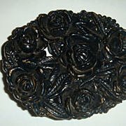 "SALE Black Plastic or Celluloid Large Oval Pin/Brooch With Roses 2 1/2"" x 2"""