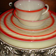 SALE Fire King Sunrise Swirl Red & Cream 5 Piece Place Setting