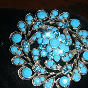 SALE Stunning Silvertone Dimensional Brooch With Turquoise Colored Faceted Stones + Blue Rhine