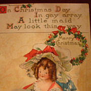 Unused B.E.B. Early Christmas Postcard Little Girl With HUGE Muff & Bonnet Red Ribbon to Match