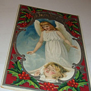 SALE A Most Beautiful 1909 Christmas Postcard Little Guardian Angel Watches Over Rosy Cheek ..