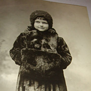 Beautiful Little Girl In Fur Coat, Hat & Muff, Tights, High Button Shoes Postcard Real Photo